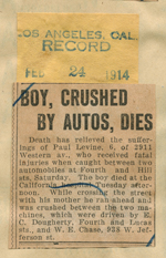 Boy, crushed by autos, dies