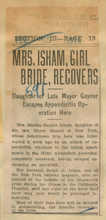 Mrs. Isham, girl bride, recovers
