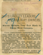 Says Lindley leaders and railway owners
