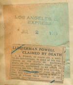 Lumberman Powell claimed by death