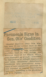 Penrumonia signs in General Otis' condition