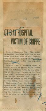 Otis at hospital victim of grippe
