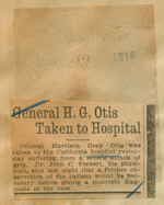 General H. G. Otis taken to hospital