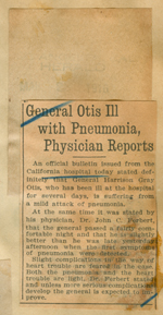 General Otis ill with pneumonia, physician reports