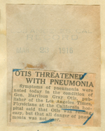 Otis threatened with pneumonia