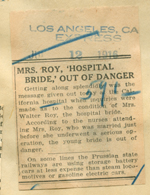 Mrs. Roy 'hospital bride' out of danger