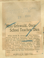 Miss Griswald, once school teacher, dies