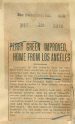 Perry Green improved, home from Los Angeles