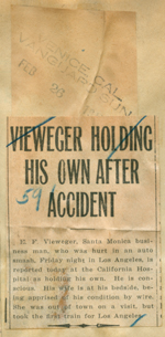 Vieweger holding his own after accident