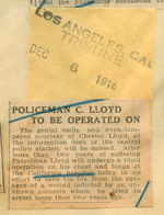 Policeman C. Lloyd to be operated on