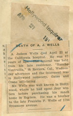 Death of A. J. Wells