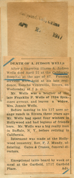 Death of A. Judson Wells