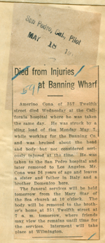 Died from injuries at Banning Wharf