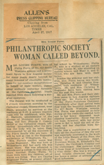 Philanthropic society woman called beyond