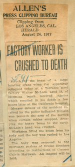 Factory worker is crushed to death