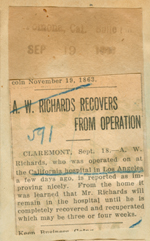 A. W. Richards recovers from operation