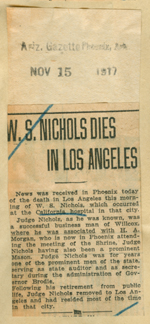 W. S. Nichols dies in Los Angeles