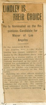 Letter and newspaper clipping from Harriet E. Baldwin to Walter Lindley
