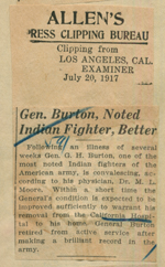 General Burton, noted Indian fighter, better