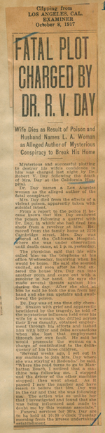 Fatal plot charged by Dr. R. V. Day