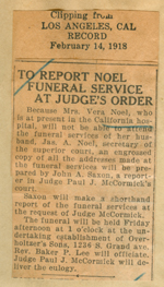 To report Noel funeral service at judge's order