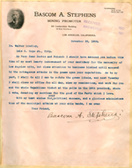 Letter from Bascom Stephens to Walter Lindley