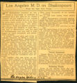 Los Angeles M. D. on Shakespeare