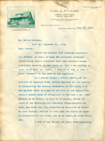 Letter from Carl Packard to Walter Lindley