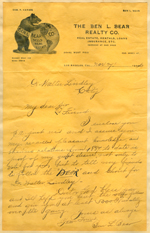 Letter from Ben L. Bear to Walter Lindley
