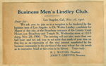 Invitation to a banquet for Walter Lindley