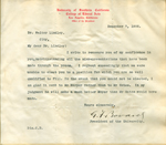 Letter from G. F. Bovard to Walter Lindley