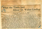 What the Times said about Dr. Walter Lindley