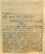 Dr. Walter Lindley banquetted by club