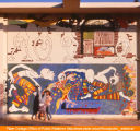Mural above Mead entrance during painting