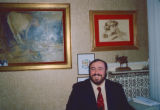 Luciano Pavarotti with art
