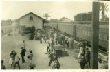 Photograph, arrival at train station in Celaya, Mexico