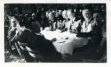 Closeup of Los Angeles Chamber of Commerce representatives seated at dining table