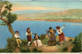 Postcard, folkloric illustration of musicians and dancing couple