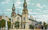 Postcard, Exterior view of Basilica at Sainte-Anne-de-Beaupré , Québec