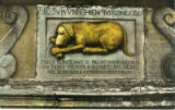 Postcard, Bas relief,  The Golden Dog