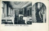 Postcard, interior dining room and stairway, Johann Cölln Restaurant, Hamburg