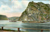 Postcard, river scene with vessels