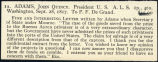 Seller's description of Adams' letter to DeGrand dated 1817 September 28