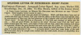 Seller's description of Fitzgerald letter dated 1860 December 18
