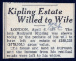 Kipling estate willed to wife