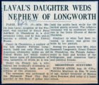 Laval's daughter weds newphew of Longworth