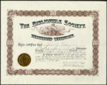The Bibliophile Society membership certificate, 1901 April 1