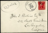 Envelope from Dole's letter to Perkins, 1908 September 21