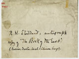 Perkins' note on autograph copy of The Book of the East