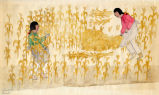 Two figures reaping corn